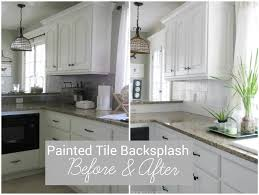 How To Install A Tile Backsplash In Kitchen I Painted Our Kitchen Tile Backsplash The Wicker House