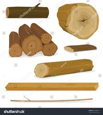 wood logs trunks planks set illustration stock vector 129080027
