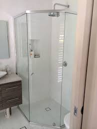 bathroom curved frameless shower door with rain shower and lowes