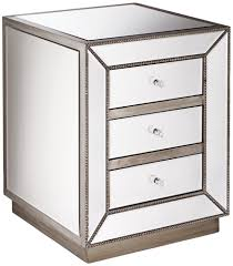 low nightstand mirrored accent table with 3 drawer and wooden base