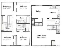 four bedroom floor plans basham rentals 401 s chauncey ave 4 bedroom floor plan