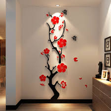 online get cheap 3d acrylic flower wall decal aliexpress com 3d crystal acrylic wall stickers couple wedding room plum flower wall decoration living room sofa door wall decal free shipping