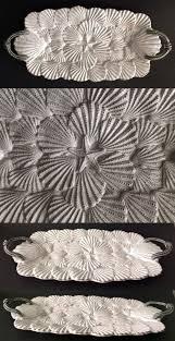 mud pie serving platters platters 45503 mud pie 3 d shell serving platter milk glazed