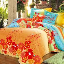 Orange Comforter Orange Green And Blue Bright Colorful Geometric Pentagon And