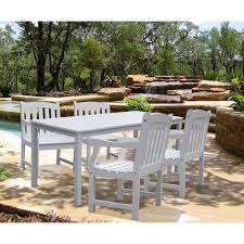Wooden Table And Chairs Outdoor Vifah Bradley Acacia White 5 Piece Patio Dining Set With 32 In W