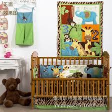 8 pieces cotton unisex baby bedding set 3d embroidery giraffe