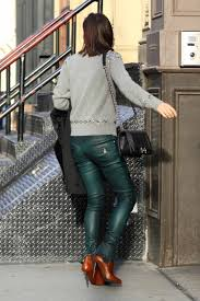 biker pants bethenny frankel wears green balmain leather biker pants the