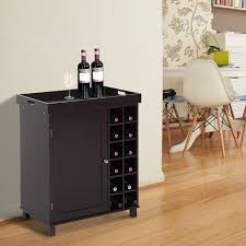 homcom wood wine cabinet with removable tray 12 bottle wine rack