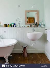 villeroy and boche sink and taps in light blue bathroom with stock
