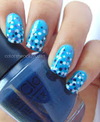 dotticure over tips ft colorland gel polish blue color the nails