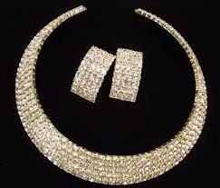 crystal choker necklace set images Silver clear swarovski crystal choker bridal necklace set bridal jpg