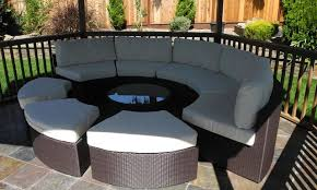 Round Outdoor Wicker Sectional Couch Set Contemporary Deck - Round outdoor sofa