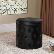 furniture round black velvet ottoman coffee table with button