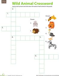 animal crossword puzzle free printable worksheets printable