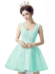 a line mint green embroidery cocktail prom dresses