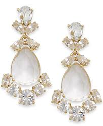 chandeliers earrings kate spade new york crystal chandelier earrings in white lyst