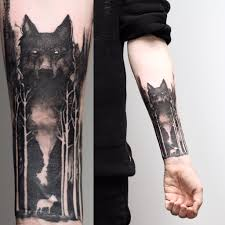 wolf and forest on aiden i like the wolf style tattoos