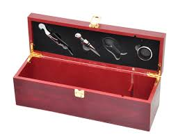 wine gift sets wine gift box set wooden for 1 bottle by trademark innovations