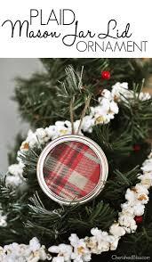 plaid jar lid ornament cherished bliss