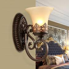 Retro Wall Sconces Wall Sconces And One Light Glass Shade Wrought Iron