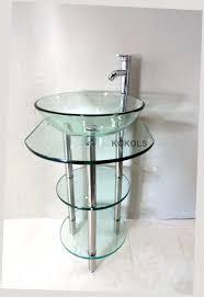bathroom vanities pedestal clear tempered sink