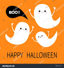 happy halloween flying ghost spirit set stock vector 700506682