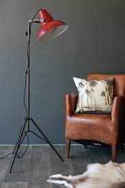 Industrial Floor Lamp Film Floor Lamp With Red Shade