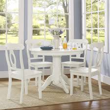 Dining Table Set Traditional Beautiful White Aubrey 5 Piece Traditional Height Pedestal Dining