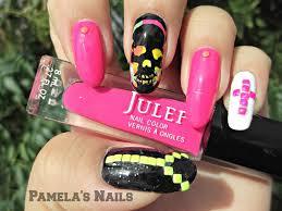 neon skull and studs nails fashion fuz