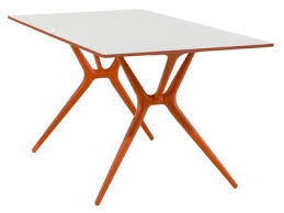 table pliante bureau spoon foldable table 200 x 90 cm white orange by kartell