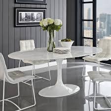 furniture striking white marble counter top saarinen oval dining