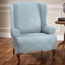 turquoise chair slipcover stretch wing chair slipcovers