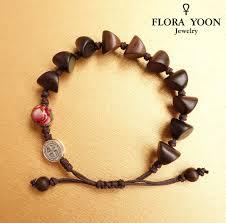 catholic bracelet the stylish knotted wood rosary bracelet with antique silver st