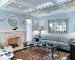 great blue walls living room with home decoration ideas designing