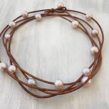 pink leather necklace images Best freshwater pearl leather necklace products on wanelo jpg