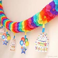 2018 optimal rainbow paper garlands children s day celebration
