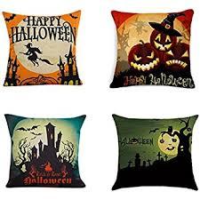 amazon com happy halloween throw pillow case 4 pack square