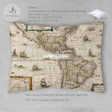 Map North And South America by America Old Map Bedding Vintage Old World Map Duvet Cover Set