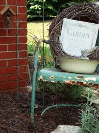 vintage metal and bouncy motel chairs in the garden flea