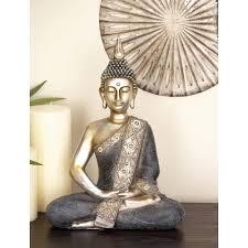 16 in x 12 in decorative sitting buddha sculpture in colored