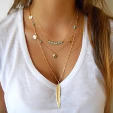 boho necklace set images Women gold necklace set of 3 long minimal multiple layer necklaces jpg