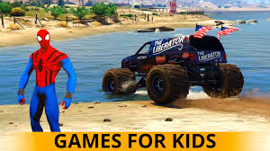 monster trucks cartoon children spiderman river crossing 2