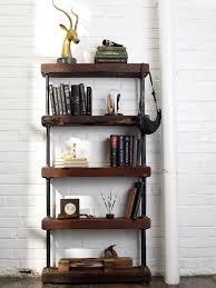 Bookcase Black Wood Industrial Rustic Bookshelf Rustic Bookshelf Black Pipe And