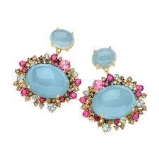 aquamarine drop earrings brumani 18k gold diamond aquamarine drop earrings jewelista