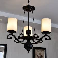 3 light simple rustic chandeliers with glass shade wrought iron