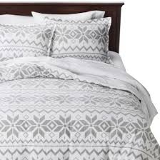 Flannel Duvet Covers Holiday Flannel Duvet Cover Set Gray Fair Isle Snow Great For