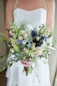 wedding flowers near me blue thistle bouquet bridal