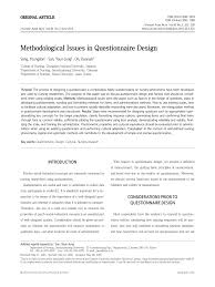 questionnaire design methodological issues in questionnaire design pdf available