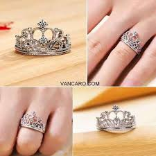 Vancaro Wedding Rings by Exquisite Princess Crown Cubic Zirconia 925 Sterling Silver