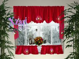 Snowflake Curtains Christmas Holiday Curtains Valances Christmas Kitchen Curtain B2 Version